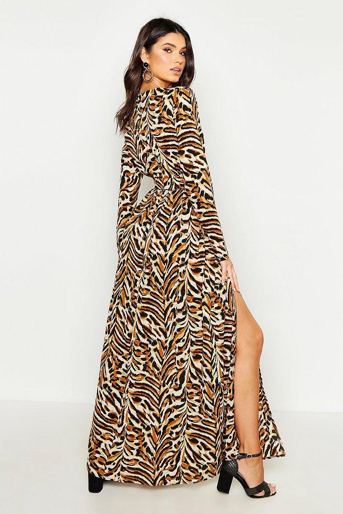 BNWT Boohoo Exclusive Wrap Maxi Dress In Scarf Tiger Print Size 18