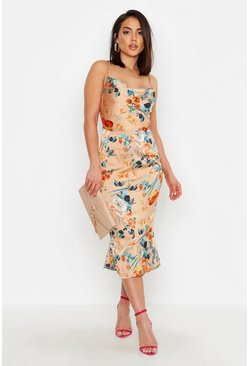 Gold Satin Floral Cowl Flute Hem Slip Dress