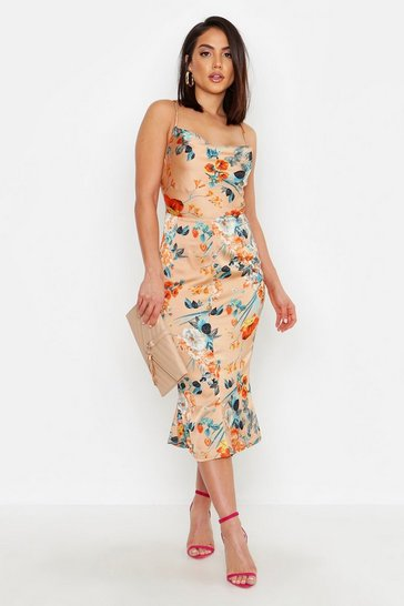Gold metallic Satin Floral Cowl Flute Hem Slip Dress