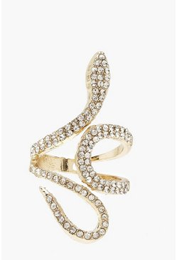 Gold metallic Diamante Statement Ring