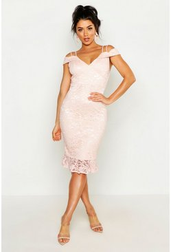 Blush pink Lace Cold Shoulder Ruffle Hem Midi Dress