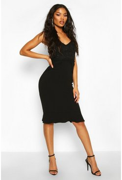 Black Lace Panel Ruffle Hem Midi Dress