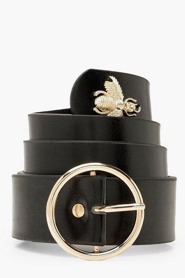 Black O Ring Buckle Bee Belt