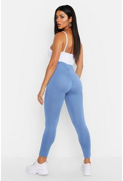 Denim-blue blue Ruched Bum Detail Jersey Legging
