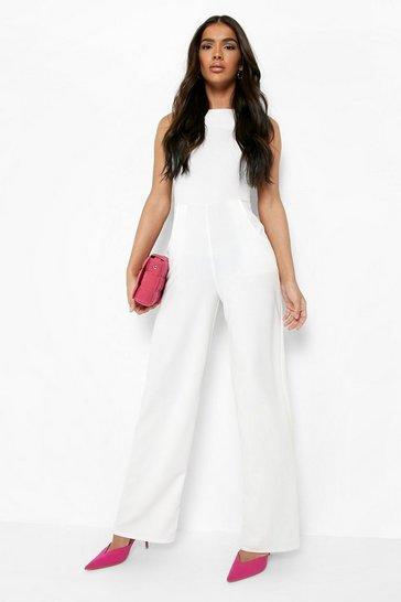 Ivory white Round Neck Textured Jumpsuit
