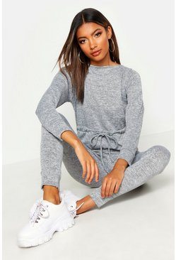Grey Tie Waist Long Sleeve Lounge Jumpsuit