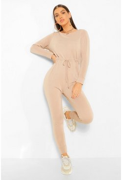 Stone beige Tie Waist Long Sleeve Lounge Jumpsuit