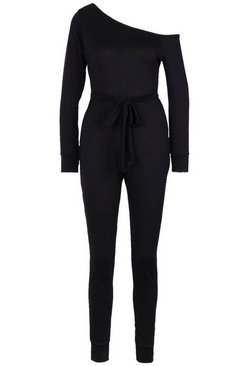 Black Tie Waist Off the Shoulder Jumpsuit