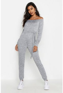 Grey Tie Waist Off the Shoulder Jumpsuit