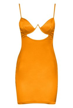 Neon-orange Satin Cut Out Detail Cupped Bodycon Dress
