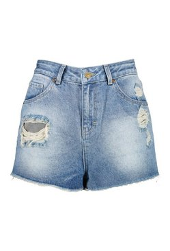 Mid blue Mid Rise Denim Short