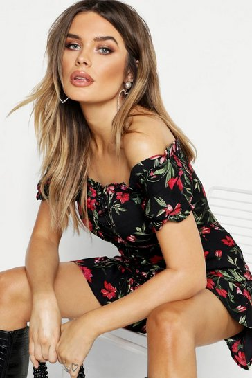 Black Floral Chiffon Off The Shoulder Mini Dress