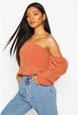Rust orange Dobby Spot Off Shoulder Long Sleeve Crop Top