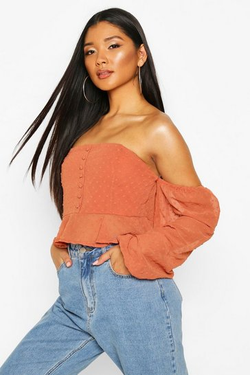 Rust orange Orange Dobby Spot Off Shoulder Long Sleeve Crop Top