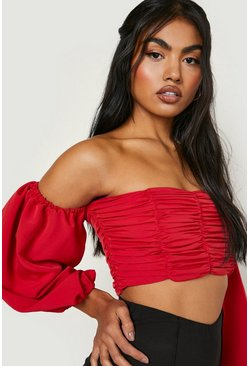 Red Ruched Volume Sleeve Crop Top