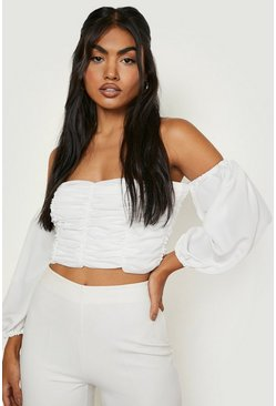 White Ruched Volume Sleeve Crop Top