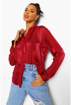 Wine red Satin Stripe Collarless Shirt