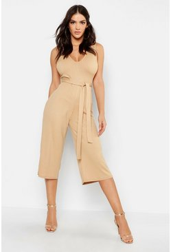 Tan brown Jumbo Ribbed Culotte Lounge Jumpsuit