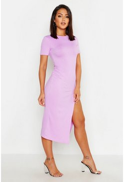 Lilac purple Jumbo Rib Split Side Midi Dress