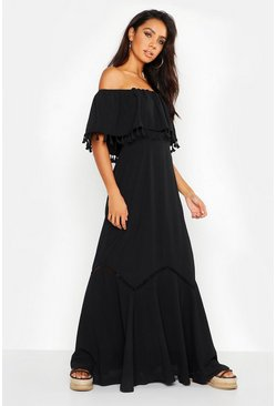 Black Off The Shoulder Tassel Maxi Dress