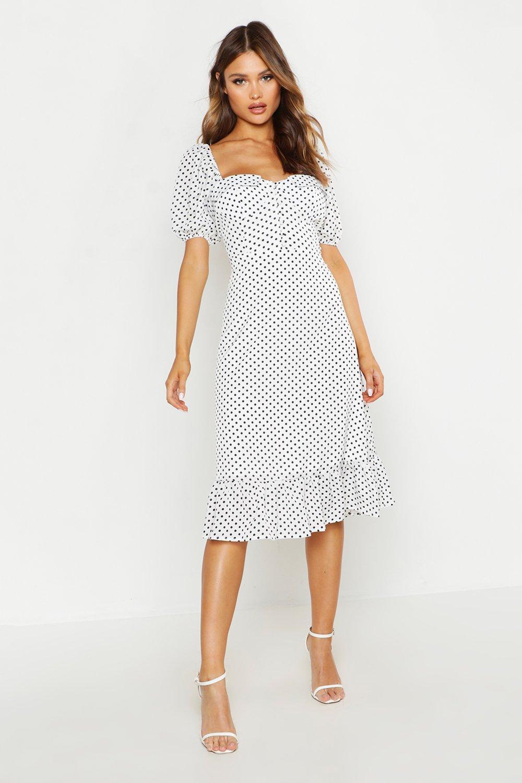 DRESSES Puff Sleeve Bustier Ruffle Hem Polka Dot Midi