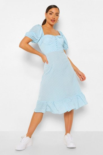 Light blue blue Puff Sleeve Bustier Ruffle Hem Polka Dot Midi