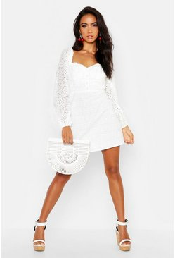 Ivory white Broderie Anglais Sweetheart Mini Dress