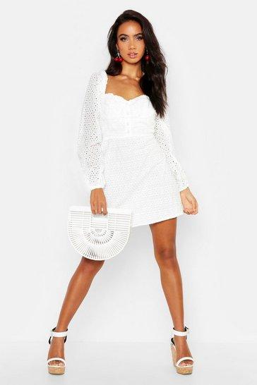 Ivory white Broderie Anglais Sweetheart Mini Dress