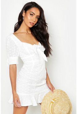 Ivory white Knot Front Broderie Anglais Mini Dress