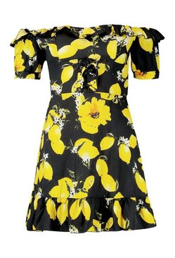 Black Off The Shoulder Lemon Print Mini Dress