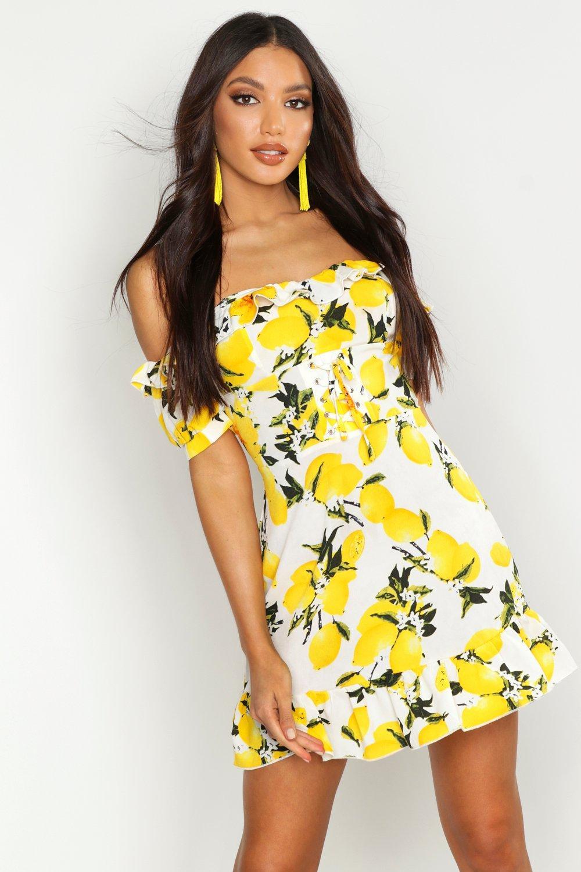 Mini Dresses Off The Shoulder Lemon Print Mini Dress