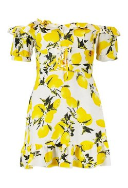 Ivory Off The Shoulder Lemon Print Mini Dress