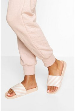 Ecru white Gestreepte Woman Slippers Met Tekst