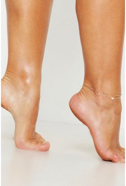 Gold Heart Simple Layered Anklet