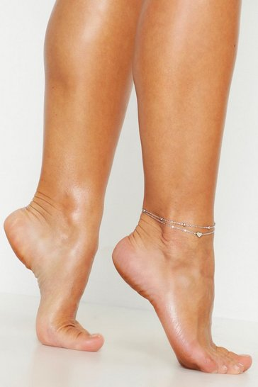 Silver Heart Simple Layered Anklet