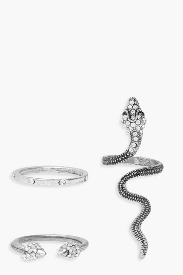 Silver Statement Snake Ring Pack