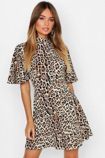 Leopard High Neck Skater Dress