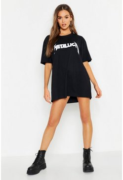 Black Metallica License Oversized T-Shirt Dress