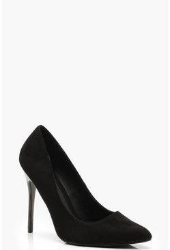 Black Wide Fit Stiletto Heel Court Shoes