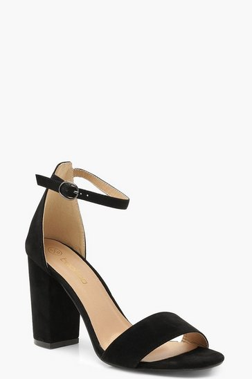 Black Wide Fit Barely There Heels