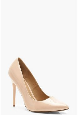 Nude Wide Fit Stiletto Heel Court Shoes