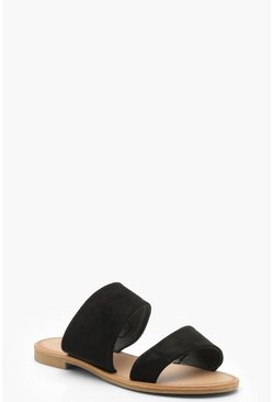 Black Wide Fit Asymmetric Sliders
