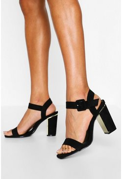 Black Wide Fit 2 Part Block Heels