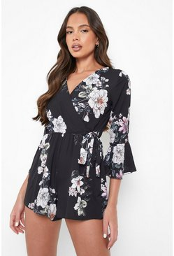 Black Floral Wrap Tie Playsuit