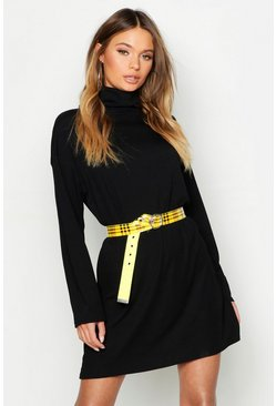 Black Roll Neck Ribbed Long Sleeve Mini Dress