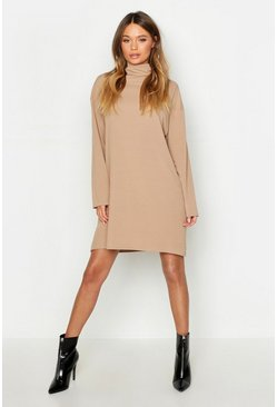 Camel beige Roll Neck Ribbed Long Sleeve Mini Dress