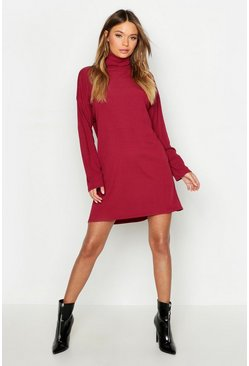 Wine red Roll Neck Ribbed Long Sleeve Mini Dress