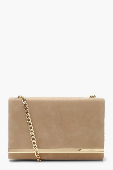 Taupe beige Structured Suedette Clutch Bag and Chain