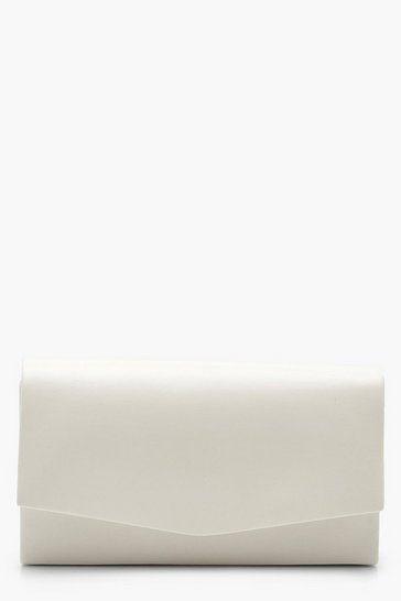 White Structured PU Clutch Bag & Chain