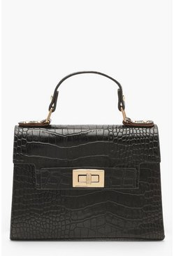 Black Faux Croc Small Tote Bag